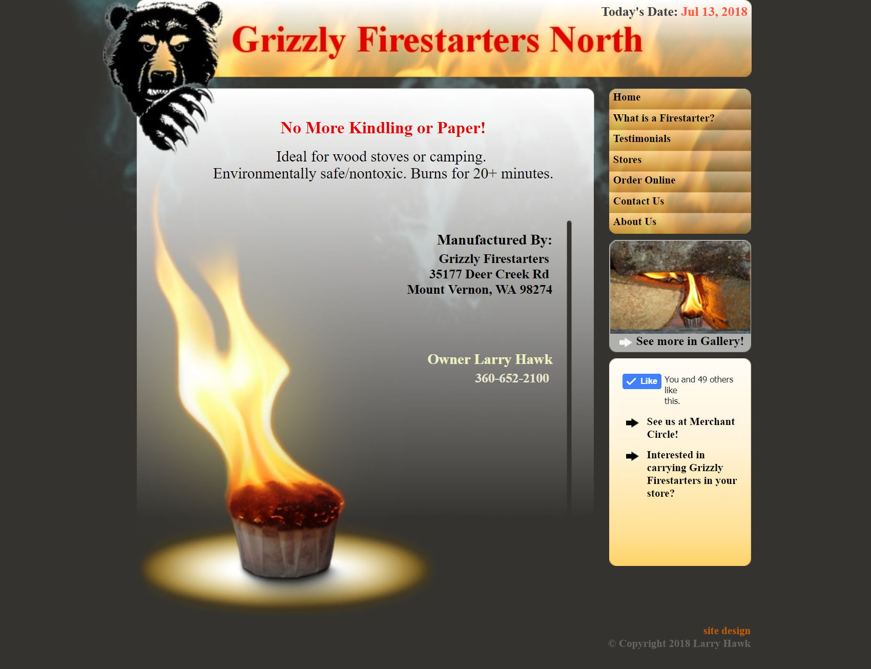 Grizfirestarters site screenshot