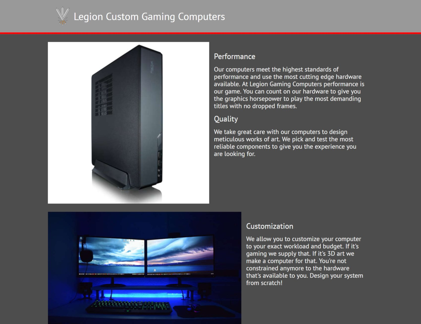 Legion Custom Gaming Computers site screenshot
