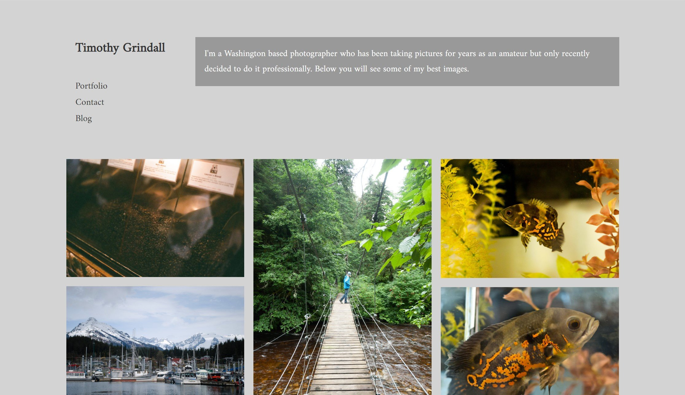 Photogrpahy by Timothy Grindall site screenshot